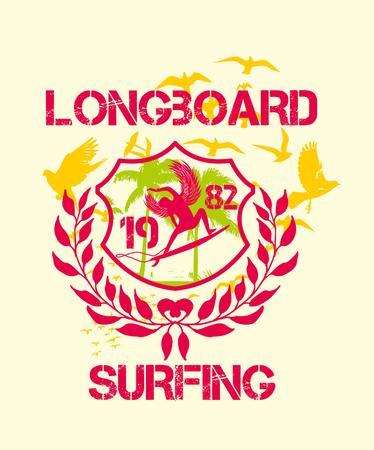 pacific ocean surfer art Illustration