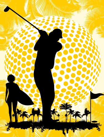 summer sports golf player art Illustration