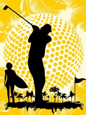 summer sports golf player art Illusztráció