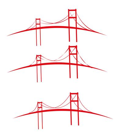 red bridges design art Illustration