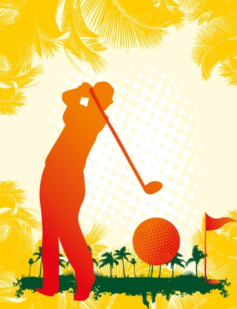 summer sports golf player art Stock Vector - 23516145