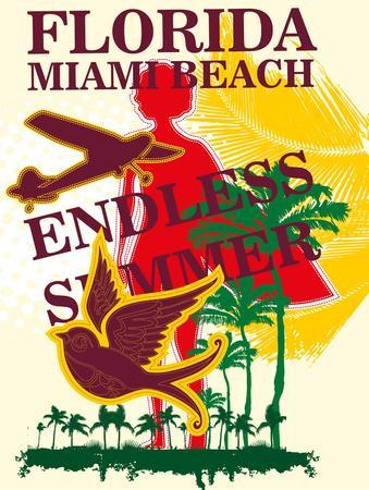 endless summer miami beach vector art Illustration