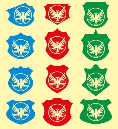 eagle shield and laurel wreath: wreath eagle shield vector art