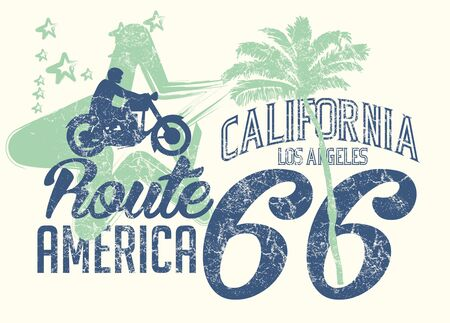 california retro route 66 art Иллюстрация