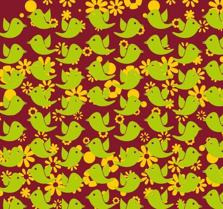 birds and hibiscus art Vector