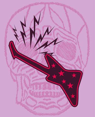 skull and guitar art Illustration
