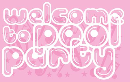 welcome pool party printing art Illustration