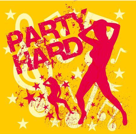 dance music party girls art Illustration