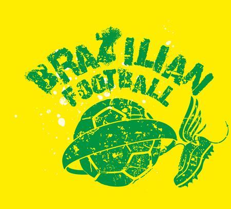 2014 brazilian football retro style art