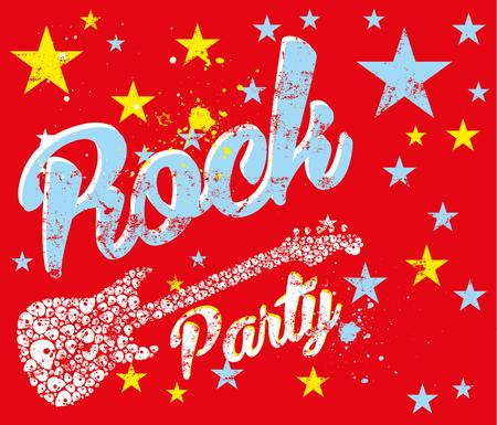 rock party and guitar vector art