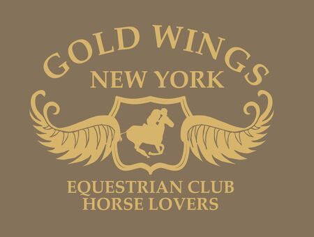gold wings equestrian vector art