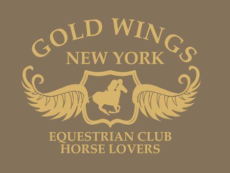 gold wings equestrian vector art