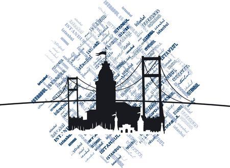istanbul city vector art Иллюстрация