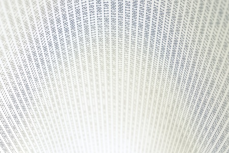 Abstract binary code, shallow depth of field, horizontal