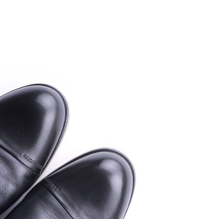shoe shine: A pair of mens shoes top view,  isolated Stock Photo