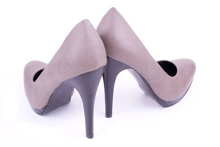 Pair women's shoes back view, isolated Stock Photo - 10916266