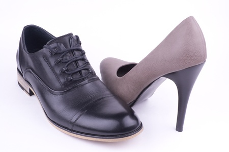 One male and one female shoe, isolated