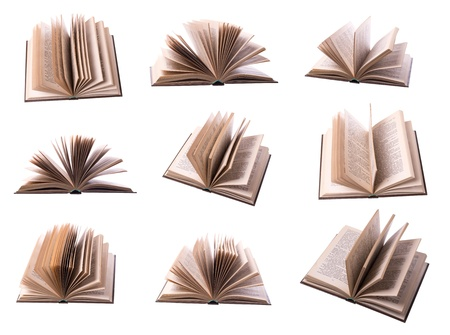 new books: Nine open book isolated on white background
