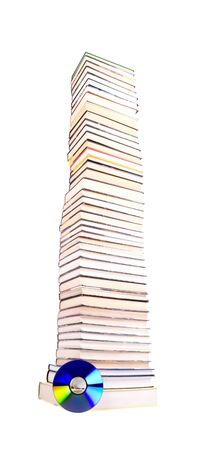 Stack of books and compact disc isolated photo
