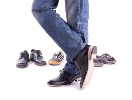 Men's feet in new shoes crosswise isolated Standard-Bild