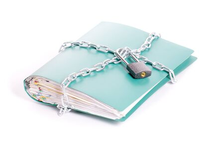 Folder security whit  chain and padlock isolated photo