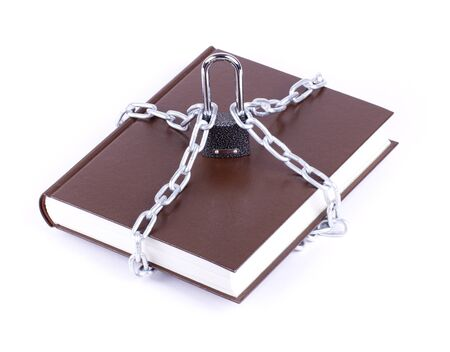 The brown book is linked chain and padlock isolated photo