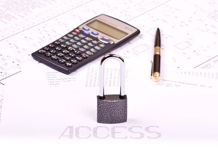 zeros: Padlock, pen, calculator and inscription ACCESS of zeros and ones
