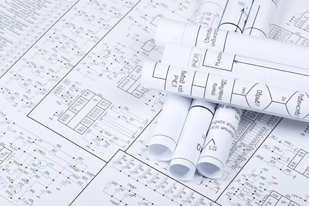 Drawings rolled in a tube crosswise Stock Photo - 12075369