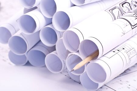 Detail  drawings and drawings rolled in a tube photo
