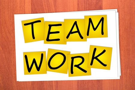 Word TEAM WORK on stickers on table Stock Photo - 12075364