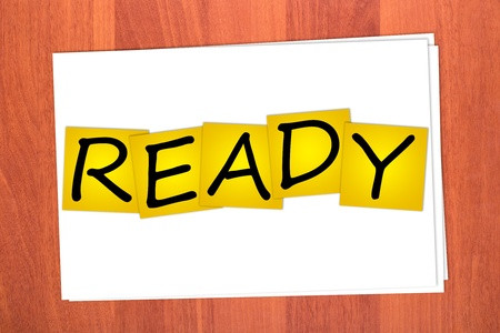 Word READY on stickers on table Stock Photo - 12075358