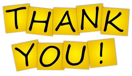 dank u: Word THANK YOU! op stickers