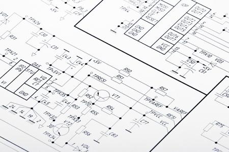 circuitos electricos: Dibujo detallado de los circuitos el�ctricos Foto de archivo