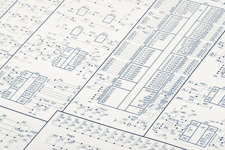 engineering design: Detailed drawing of electrical circuits Stock Photo