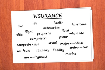 Various types of insurance on table photo
