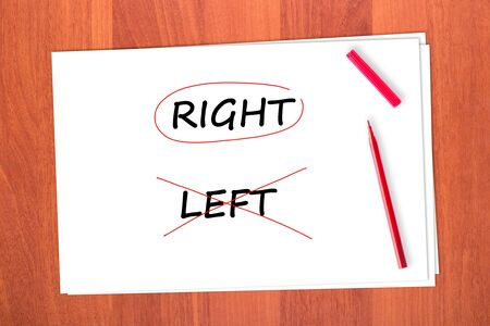 tachado: Elegir la palabra correcta, tach� la palabra LEFT Foto de archivo