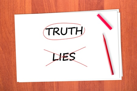 strikethrough: Chose the word TRUTH, crossed out the word LIES Stock Photo