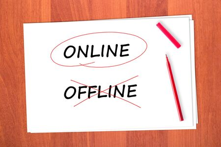 chose: Chose the word ONLINE, crossed out the word OFFLINE