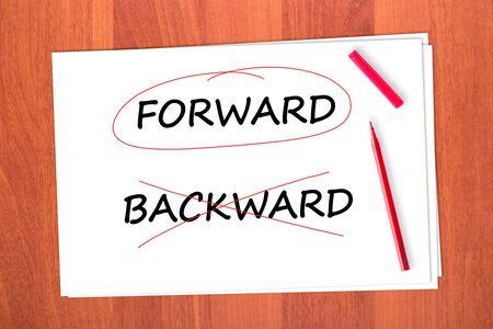 strikethrough: Chose the word FORWARD, crossed out the word BACKWARD