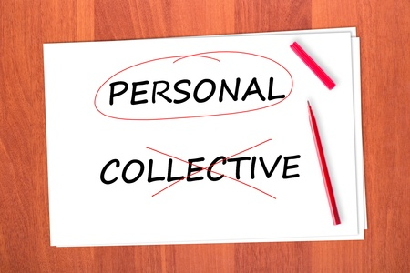 strikethrough: Chose the word PERSONAL, crossed out the word COLLECTIVE