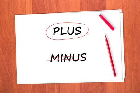 chose: Chose the word PLUS, crossed out the word MINUS Stock Photo