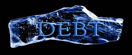 Word DEBT frozen in the ice on a black background photo