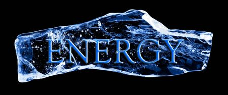 Word ENERGY frozen in the ice on a black background photo