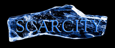 scarcity: Word SCARCITY frozen in the ice on a black background