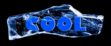 Word COOL frozen in the ice on a black background photo