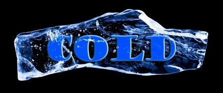 Word COLD frozen in the ice on a black background photo