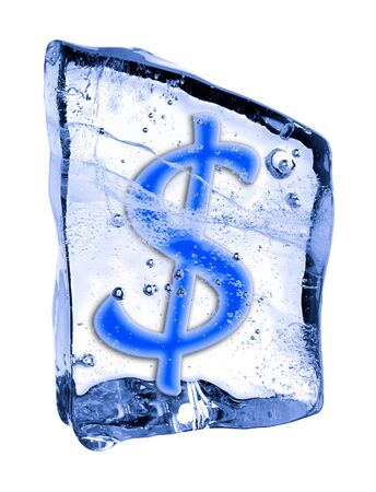 Sign $ frozen in the ice on a white background photo