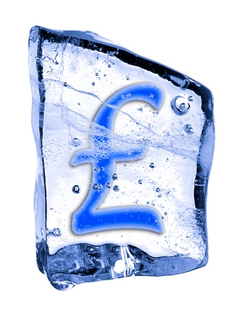 pound sign: Sign  frozen in the ice on a white background Stock Photo