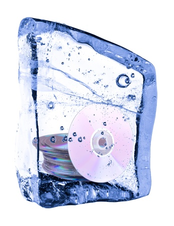 Disc frozen in the ice on a white background photo