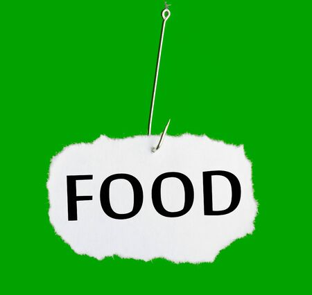 Word FOOD on a fishing hook on green background photo